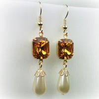 Elizabeth Topaz Pearl Earrings