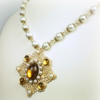 Elizabeth Topaz Pearl Necklace
