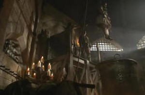 """Richard Roose being lowered into the cauldron in """"The Tudors"""""""