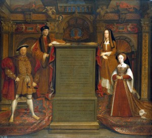 The Whitehall Mural showing Henry VIII's parents and he and the woman he believed to be his first true wife, Jane Seymour.