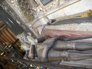Looking down on Robert and Lettice Dudley's tomb
