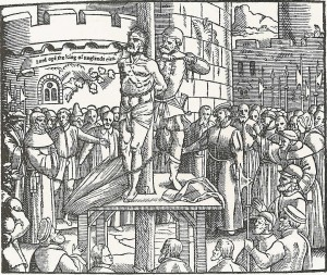A woodcut of Tyndale's execution from Foxe's Book of Martyrs (1563)