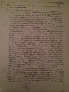 A letter written by Chapuys, photo courtesy of Lauren Mackay