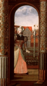 Detail from The Family of Henry VIII portrait showing Jane the Fool
