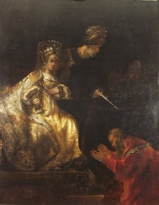 Haman Begging the Mercy of Esther by Rembrandt