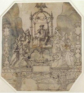 Apollo and the Muses on Parnassus by Hans Holbein the Younger - A design for a montage for Anne's coronation.