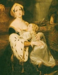 Detail from a painting of Anne and Elizabeth by Gustaf Wappers (1838)