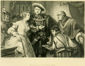 Engraving of Henry VIII and Anne Boleyn by T. L. Raab after the painting by Fr. Pecht.