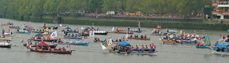 The flotilla of man-powered boats at the Queen's Diamond Jubilee procession 2012