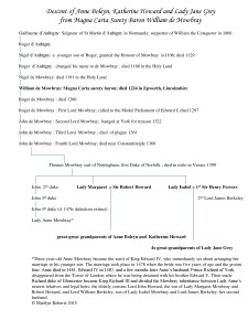 Descent of Anne Boleyn, Katherine Howard and Lady Jane Grey from Magna Carta surety baron William de Mowbray - click to enlarge.