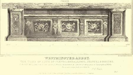 Anne of Cleves's Tomb in Westminster Abbey showing two of the three heraldic emblems found in the St Leonard's Church carvings.