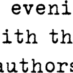 An evening with the authors – 24 September 2016