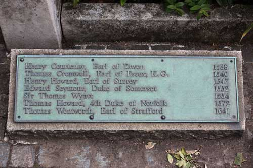 Tower Hill scaffold memorial plaque with Cromwell's name listed